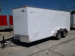 7x16 7 X 16 V - Nose Enclosed Cargo Trailer Ramp Door & Side Door,  Dexter Axles photo