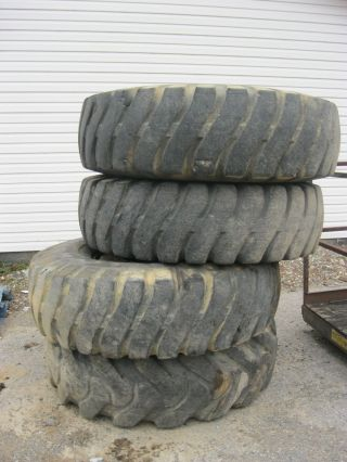 4 Goodyear Hard Rock Lug 1600 X 24 Tires With Rims Removed From Pettibone Crane photo