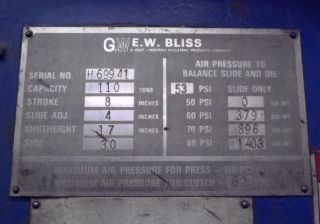 110 Ton Bliss Obi Press Model C - 110 photo