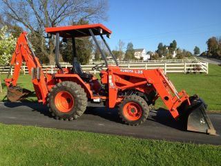 Kubota L35 Commercial Duty Tractor Loader Backhoe,  441 Hours,  4x4,  35 Hp,  3 Pt photo