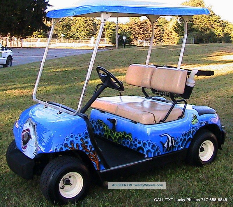 2005 yamaha golf cart with custom paint work fish shark for Yamaha golf cart id