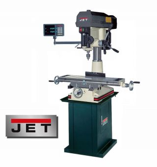 Jet Mill / Drill W/ Power Downfeed,  Newall Dro And Stand Model Jmd - 18pfn photo