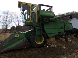 John Deere 55 Combine Hillside Corn Special W/ 2 Heads photo