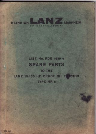 Lanz Tractor Hr5 Parts List In English photo