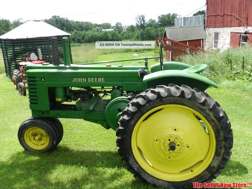 Old Cylinder Tractor : Restored antique john deere model a farm two cylinder