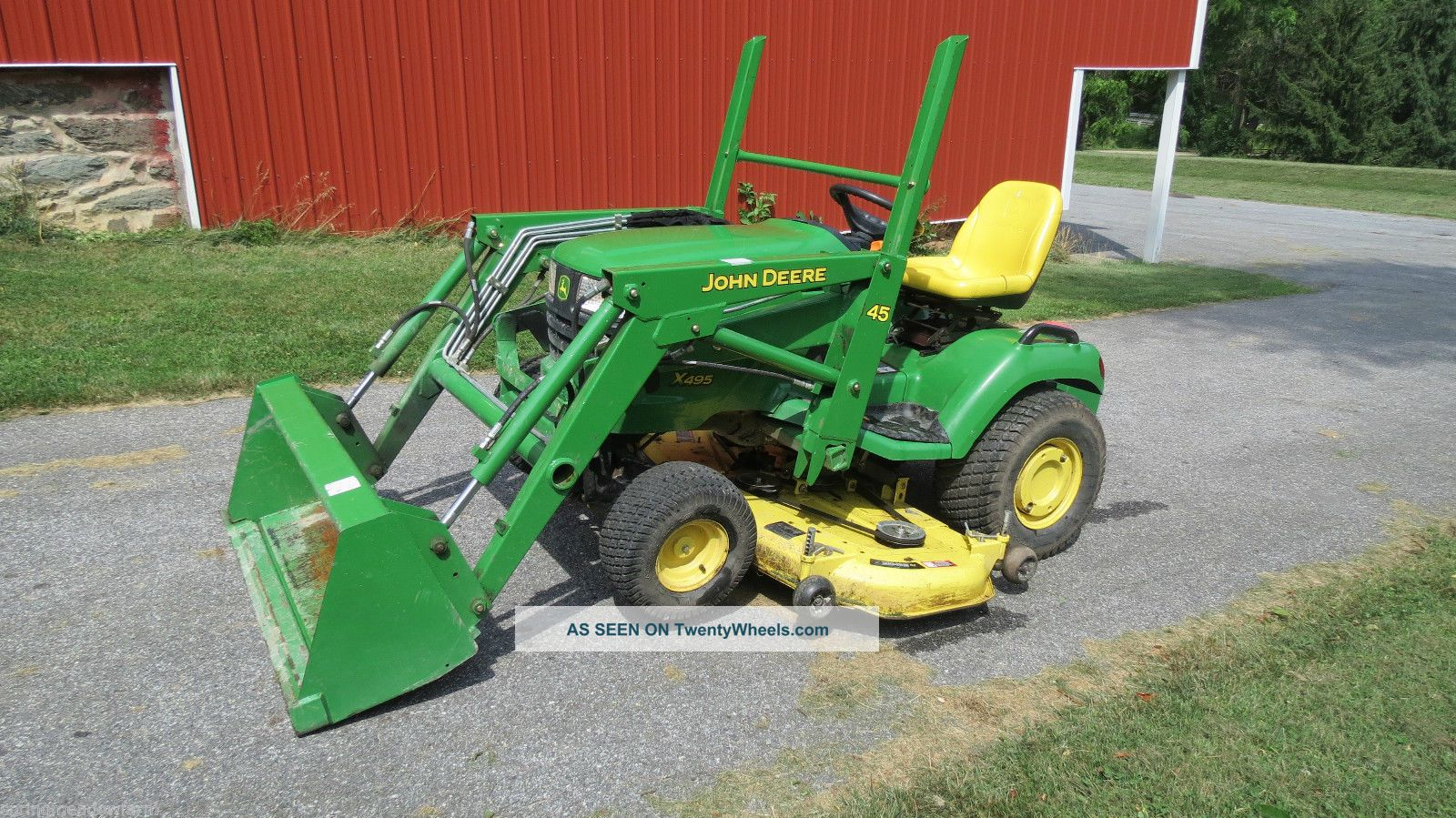 2004 John Deere X495 Garden Tractor W Loader Belly Mower