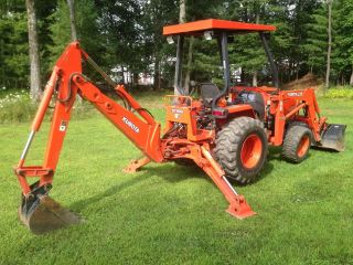 Kubota L35 Tractor Loader Backhoe 4x4 35hp Diesel R4 Commercial Grade photo