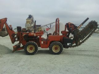 Ditch Witch 8020 Ride On Trencher With Motor.  Cable Plow.  Back Hoe photo