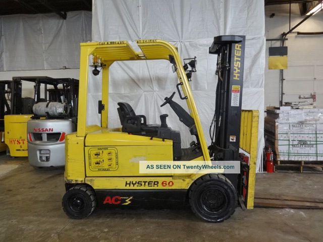 2007 Hyster J60z 6000lb Pneumatic Forklift Eleictric 80v Lift Truck 48