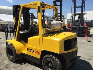 2002 Hyster 8000 Lbs Pneumatic Lp Gas Side - Shifter 3 Stage Mast photo