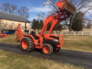 Kubota Grand L3940 Diesel Tractor,  4x4,  Hydro,  368 Hrs,  Kubota Loader & Backhoe photo