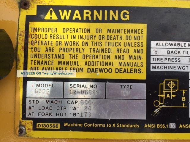 Caterpillar/daewoo Pneumatic 6000 Lb G30s Forklift Lift Truck