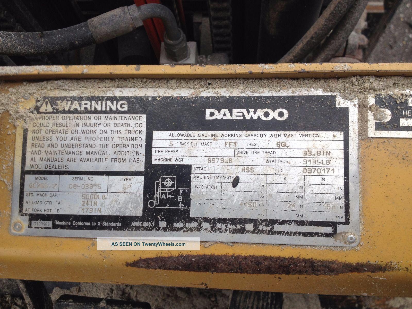 Daewoo Gc25s Forklift 4500lb Capacity, Propane, Side - Shift, No