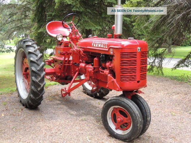 Farmall Tractor Plows : Farmall c tractor w right side cutter and l r plow