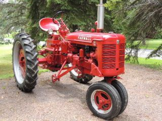 1948 Farmall C Tractor W/ Right Side Cutter And L&r Plow photo