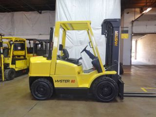2001 Hyster H80xm 8000lb Pneumatic Forklift Diesel Lift Truck W/ 48