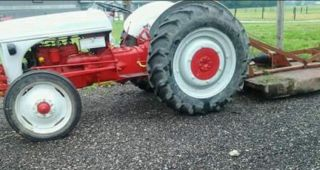1949 Ford 8n Tractor With 60 Inch Mower And Snow Blower. photo