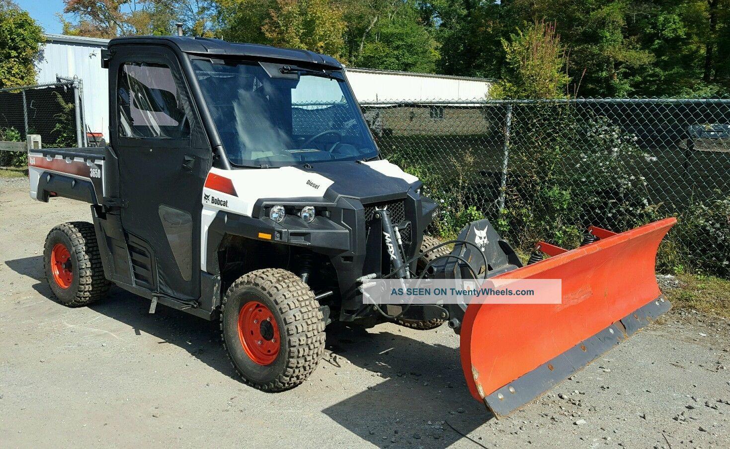 Bobcat 3650 Utility Vehicle Snow Plow Cab Heat 4x4 Gator ...
