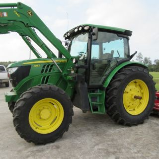 2014 John Deere 6115r Cab Tractor With H340 Front Loader photo