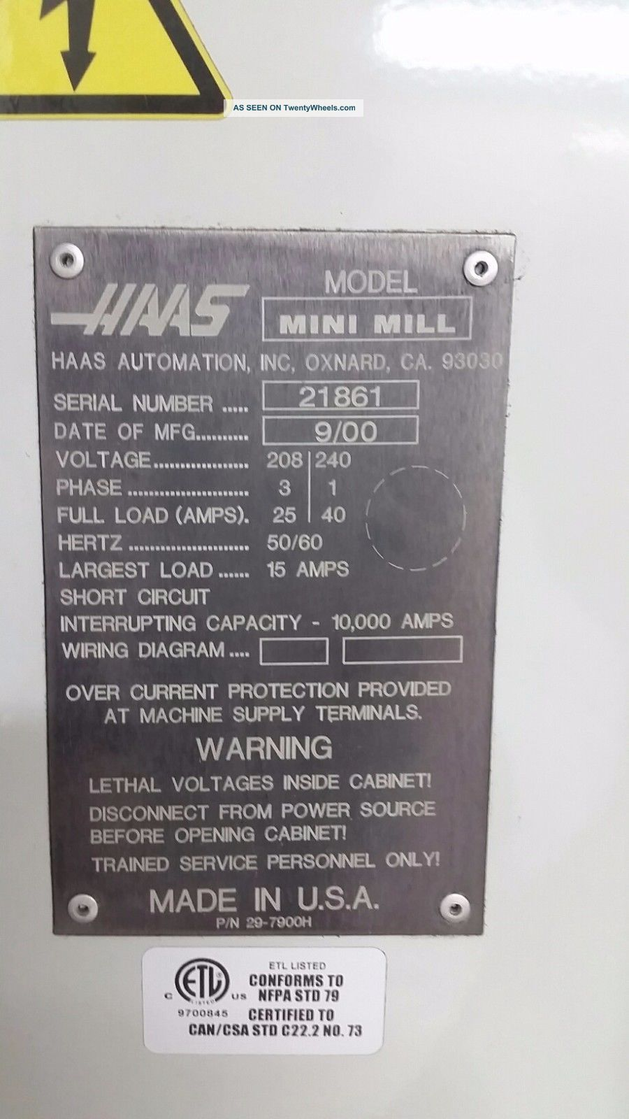 Haas Mini Mill Cnc Vertical Machining Center Ct40 Milling Rigid Tap 00 Wiring Diagram