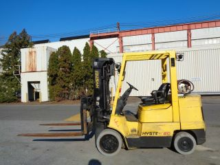 Hyster S80xm 8,  000 Lbs Forklift - Triple Mast - Side Shift - Fork Positioners photo