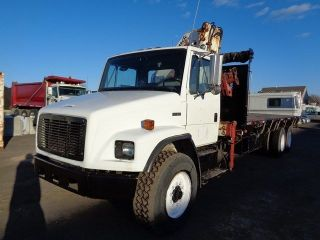 1996 Freightliner Fl80 24 ' Tandem Axle Flatbed Truck 19k Boom Crane photo