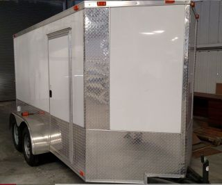 Loaded Tandem 6x12 Enclosed Trailer Cargo Trailer Motorcycle Finished Inside photo