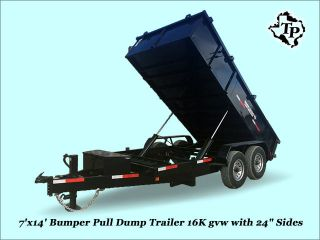 2016 7 ' X14 ' Bumper Pull Dump Trailer 16k Gvwr,  On Sale photo