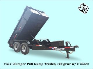 2016 7 ' X12 ' Bumper Pull Dump Trailer 12k Gvwr,  On Sale photo