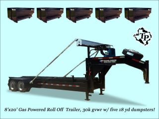 8'x20' 30k Roll Off Gas Powered Dump Trailer W/ Five 18yd Dumpsters On Sale photo