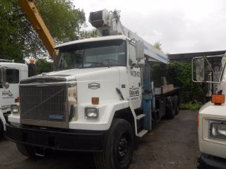 1991 Autocar Boom Truck 28 Ton,  100 ' + 50 ' Jib Mantex 28100,  102 Mls 28 ' Flat Bed photo