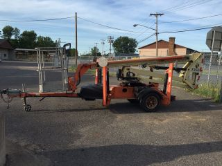 2007 Jlg T350 Tow Behind Boom Lift 35 ' Deck Hgt,  41 ' Work Hgt,  Honda Gas,  Hd photo