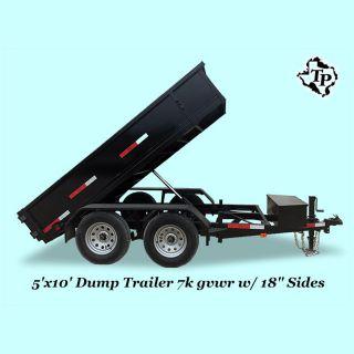 2016 5 ' X10 ' Bumper Pull Dump Trailer 7k Gvwr,  On Sale photo