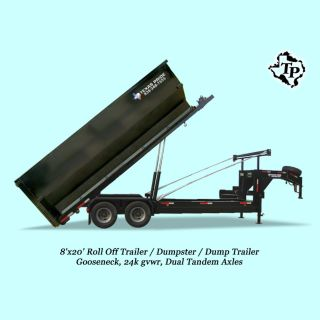 8'x20' Gooseneck Roll Off,  Dumpster / Dump Trailer,  24k Gvwr - On Sale photo