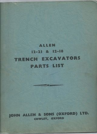 Allen 12 - 21 & 12 - 18 Trench Excavators Parts List photo
