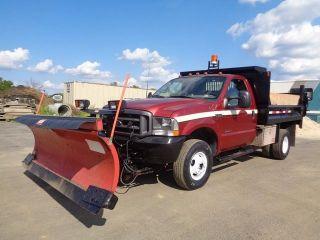 2002 Ford F350 4x4 Dump Truck Snow Plow 7.  3l Turbo Diesel photo