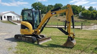 2010 Caterpillar 303c Cr Mini W/ Hydraulic Thumb Excavator Diesel Track Hoe Cab photo