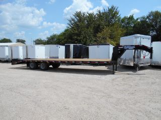 32ft 32 ' Tandem Dual Gooseneck Utility Equipment Construction Trailer 10k Axles photo