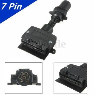 7 Pin Flat&round Female Trailer Light Plug Connector Socket Caravan Boat Truck photo
