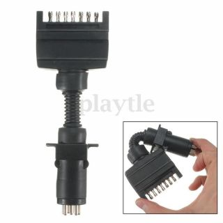 7 Pin Flat Plug To 7 Pin Small Round Plug Socket Caravan Boat Truck Hot photo