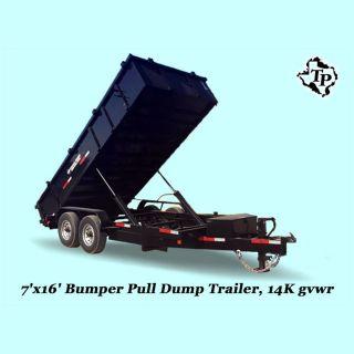 2017 7 ' X16 ' Bumper Pull Dump Trailer 14k Gvwr,  On Sale photo