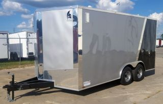 Enclosed Cargo Utility V Nose Ramp 8.  5x16 Trailer 2 Tone Colors Auto Hauler Pkg photo