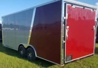 Enclosed Cargo Utility V Nose Ramp 8.  5x20 Trailer 2 Tone Colors Auto Hauler Pkg photo