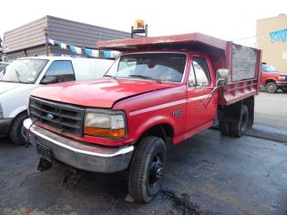 1997 Ford F350 4x4 Dump Bed Truck W/ Western Snow Plow photo