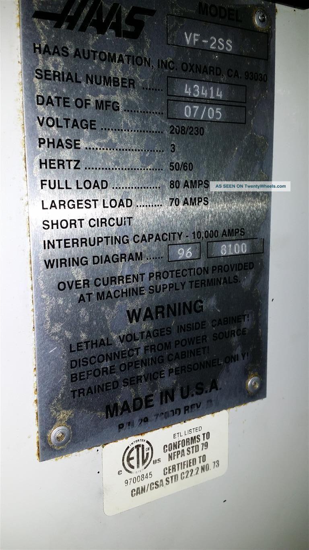 haas vf - 2ss cnc vertical machining center mill 12, 000 rpm 24 atc vmc 2005