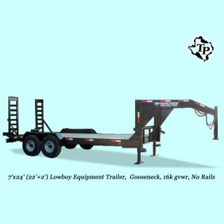 7'x24' (22' Deck + 2' Dovetail) 16k Gvwr Gooseneck Lowboy Equipment Trailer photo