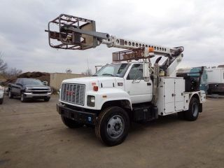 2000 Gmc 7500 Cable Placing Bucket Boom Truck Cat Diesel photo