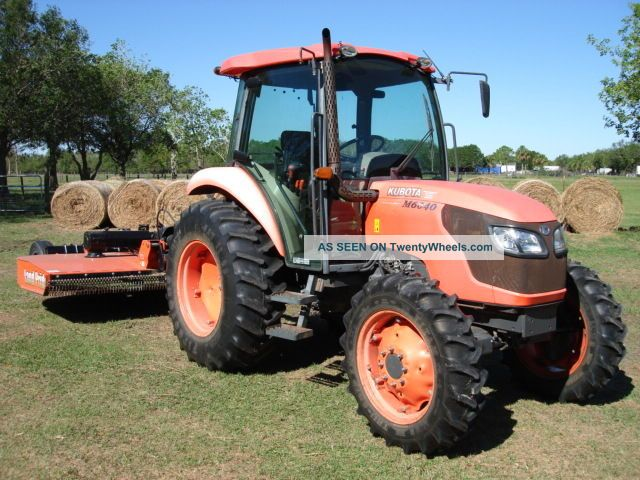Kubota M 6040 Air Cab 4x4 Tractor Only 1245 Hours With Land Pride 10 Ft Mower Tractors photo