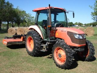 Kubota M 6040 Air Cab 4x4 Tractor Only 1245 Hours With Land Pride 10 Ft Mower photo