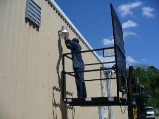 Industrial Safety Work Platform Aerial Man Scissor Fork Lift Cage Basket photo